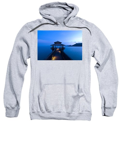 Building At The End Of A Jetty During Twilight Sweatshirt