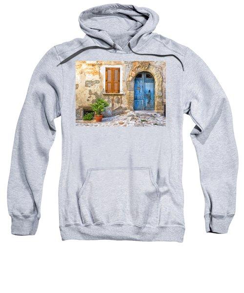 Mediterranean Door Window And Vase Sweatshirt by Silvia Ganora