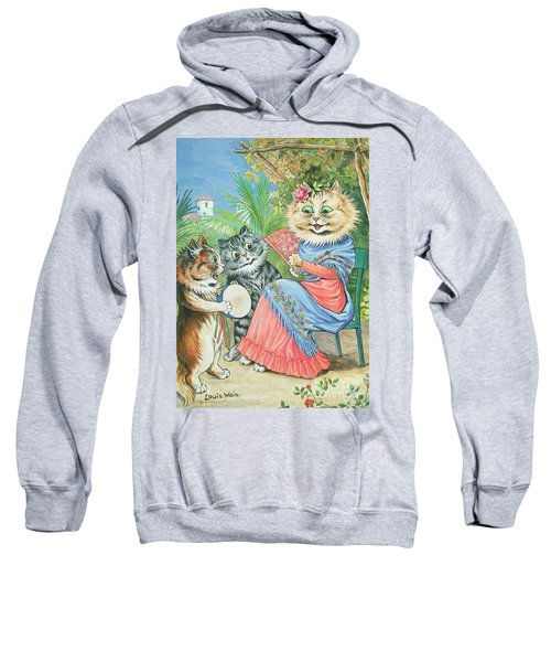 Mother Cat With Fan And Two Kittens Sweatshirt