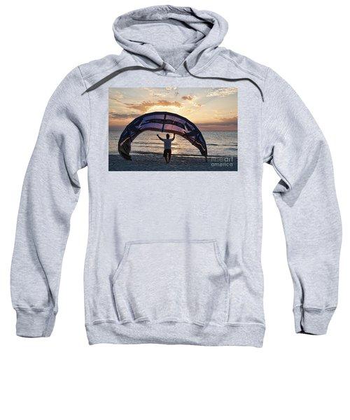 Putting Away The Kite At Clam Pass At Naples Florida Sweatshirt