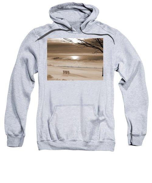 Winter Beach Morning Sepia Sweatshirt by Bill Pevlor