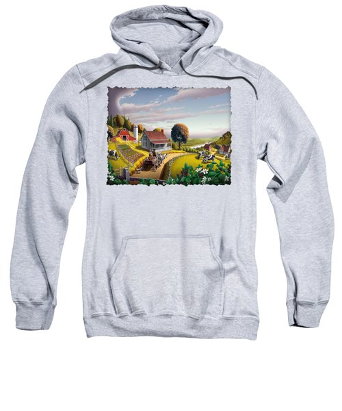 Appalachian Blackberry Patch Rustic Country Farm Folk Art Landscape - Rural Americana - Peaceful Sweatshirt by Walt Curlee