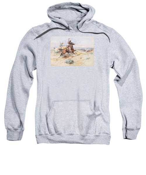 Sweatshirt featuring the painting  Roping A White Wolf  by Charles M Russell