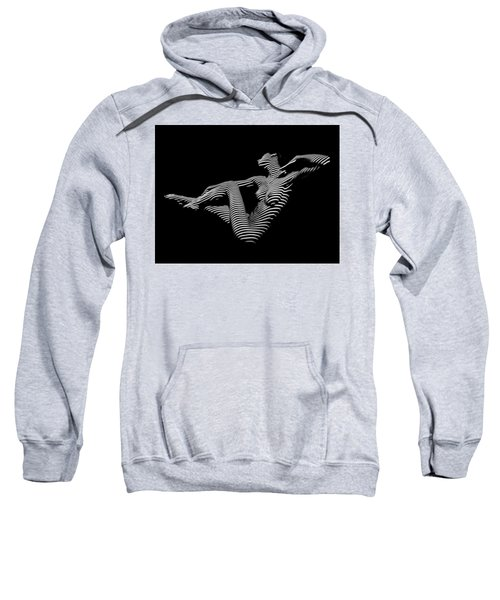 Sweatshirt featuring the photograph 0043-dja Bw Zebra Woman Striped Girl Topographic Abstract Sensual Body Art by Chris Maher