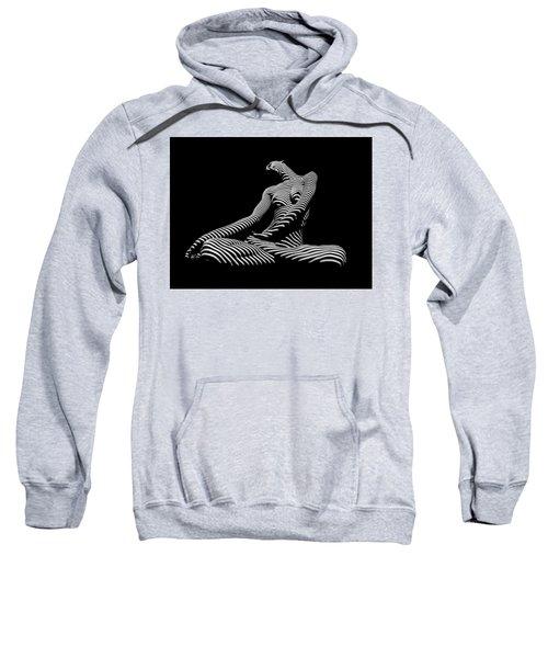 0174-dja Lotus Zebra Woman Sensual Feminine Black And White Figure Study Sweatshirt