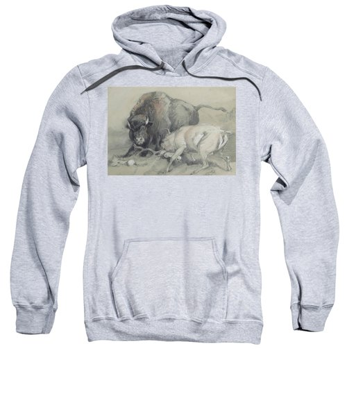 A Stag Challenging A Bison Sweatshirt