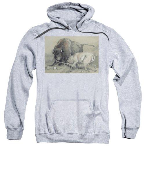 A Stag Challenging A Bison Sweatshirt