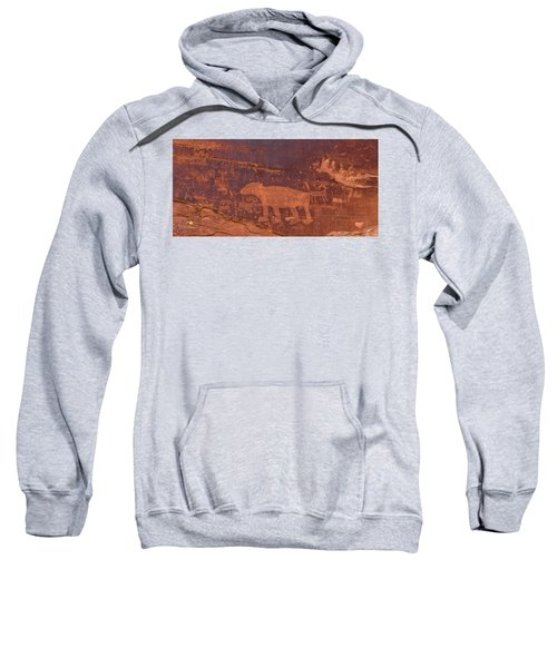 Sweatshirt featuring the photograph Ancient Native American Petroglyphs On A Canyon Wall Near Moab. by Jim Thompson