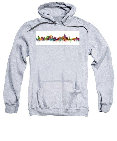 Chicago And New York City Skylines Mashup Sweatshirt