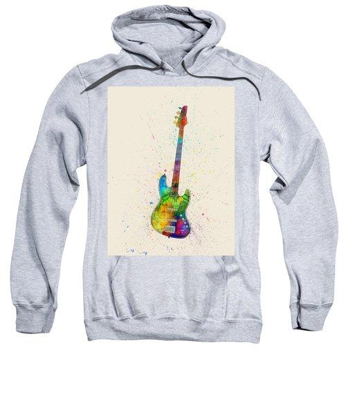 Electric Bass Guitar Abstract Watercolor Sweatshirt