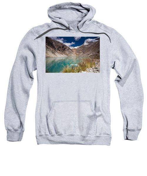 Emerald Green Mountain Lake At 4500m Sweatshirt