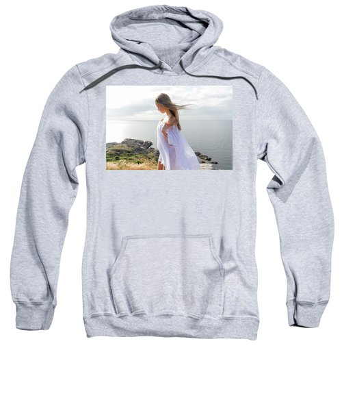 Girl In A White Dress By The Sea Sweatshirt