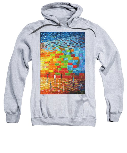 Sweatshirt featuring the painting Jerusalem Wailing Wall Original Acrylic Palette Knife Painting by Georgeta Blanaru