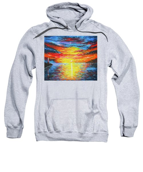 Sweatshirt featuring the painting  Lighthouse Sunset Ocean View Palette Knife Original Painting by Georgeta Blanaru