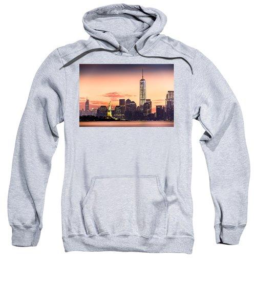 Lower Manhattan And The Statue Of Liberty At Sunrise Sweatshirt