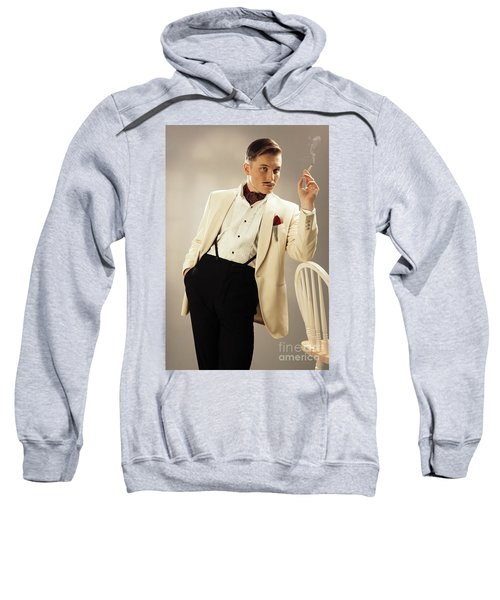 Model Playing Errol Flynn Character Sweatshirt