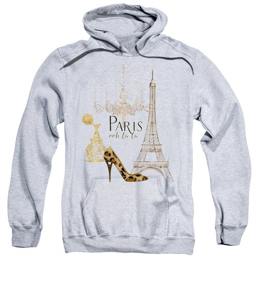 Paris - Ooh La La Fashion Eiffel Tower Chandelier Perfume Bottle Sweatshirt by Audrey Jeanne Roberts