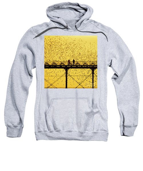 People On The Pier Sunset And Starlings In Aberystwyth Wales Sweatshirt