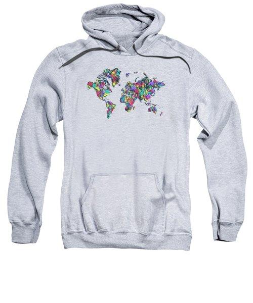 Pop Art World Map - Splashes Sweatshirt