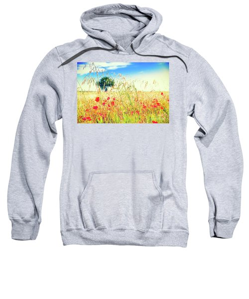 Sweatshirt featuring the photograph Poppies With Tree In The Distance by Silvia Ganora
