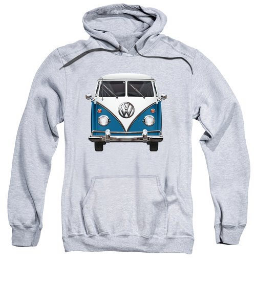 Volkswagen Type 2 - Blue And White Volkswagen T 1 Samba Bus Over Orange Canvas  Sweatshirt by Serge Averbukh