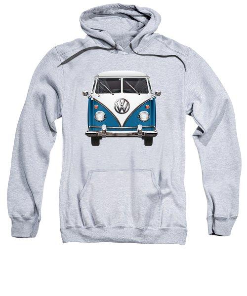 Volkswagen Type 2 - Blue And White Volkswagen T 1 Samba Bus Over Orange Canvas  Sweatshirt