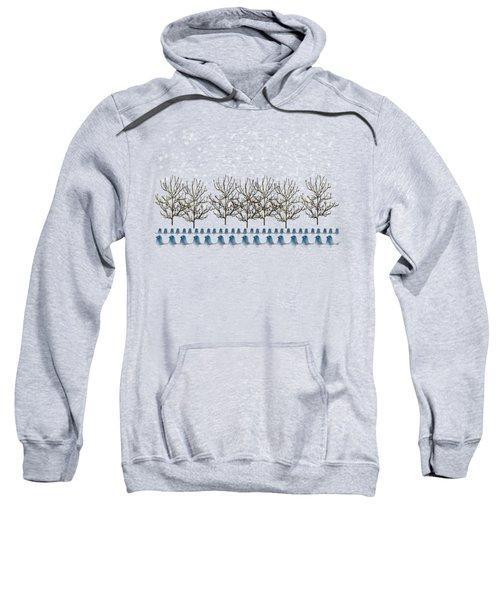 Winter Bluebirds In The Snow Sweatshirt by Anne Kitzman