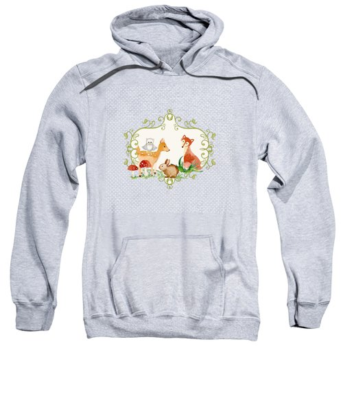 Woodland Fairytale - Animals Deer Owl Fox Bunny N Mushrooms Sweatshirt