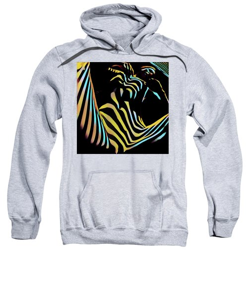 1149s-ak Dramatic Zebra Striped Woman Rendered In Composition Style Sweatshirt