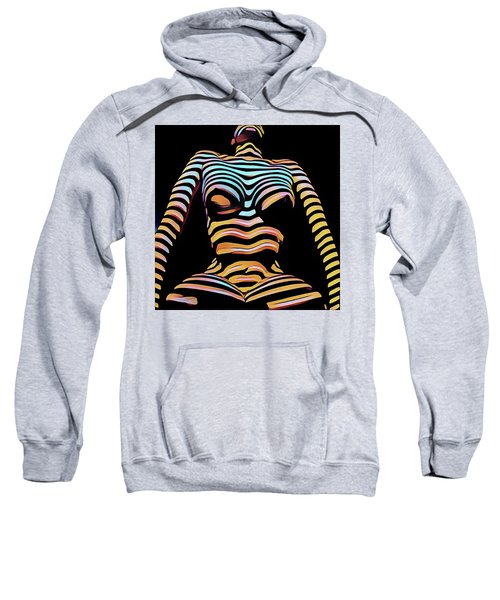 Sweatshirt featuring the digital art 1205s-mak Seated Figure Zebra Striped Nude Rendered In Composition Style by Chris Maher