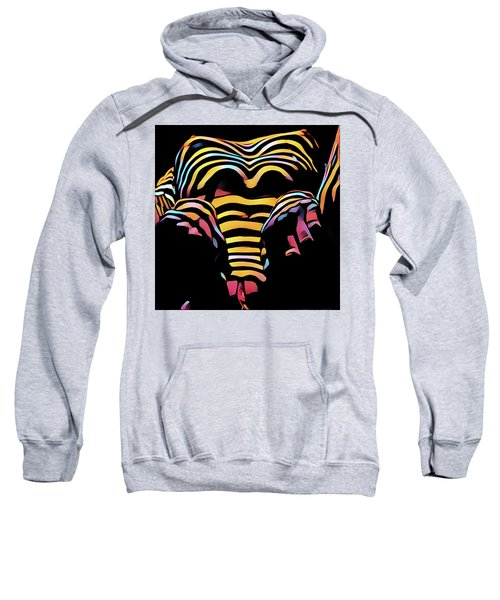 Sweatshirt featuring the digital art 1276s-ak Aroused Woman Zebra Striped Body Rendered In Composition Style by Chris Maher