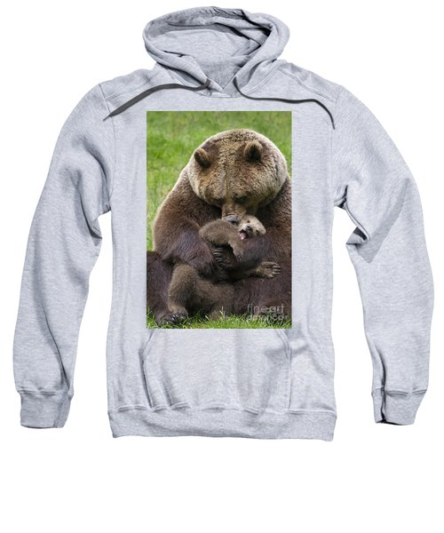 Mother Bear Cuddling Cub Sweatshirt