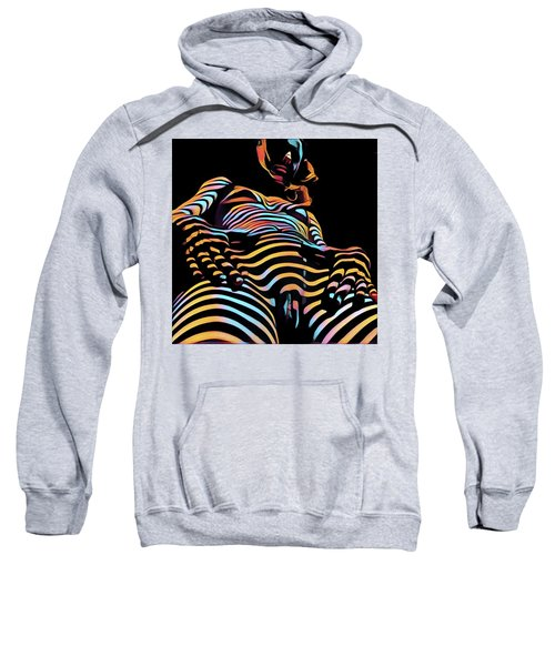 Sweatshirt featuring the digital art 1731s-ak Nude Woman Hands On Pelvis Rendered In Composition Style by Chris Maher