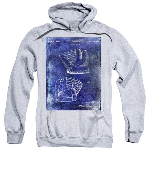 1945 Baseball Glove Patent Blue Sweatshirt by Jon Neidert