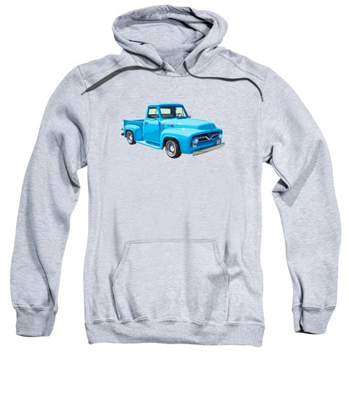 1955 Ford F100 Blue Pickup Truck Canvas Sweatshirt