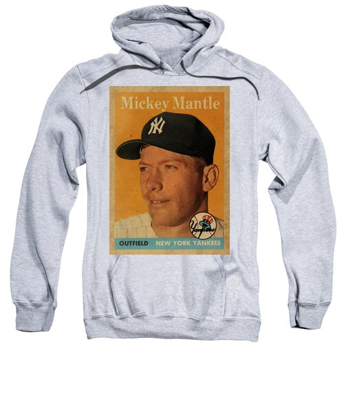 1958 Topps Baseball Mickey Mantle Card Vintage Poster Sweatshirt by Design Turnpike