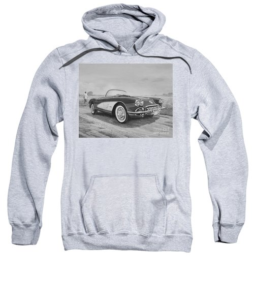 1959 Chevrolet Corvette Cabriolet In Black And White Sweatshirt