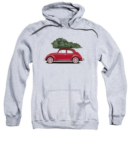 1962 Volkswagen Deluxe Sedan - Ruby Red W/ Christmas Tree Sweatshirt by Ed Jackson
