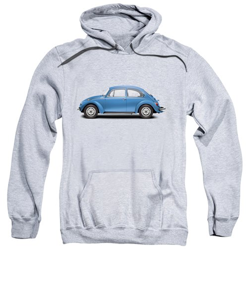 1975 Volkswagen Super Beetle - Ancona Blue Metallic Sweatshirt by Ed Jackson