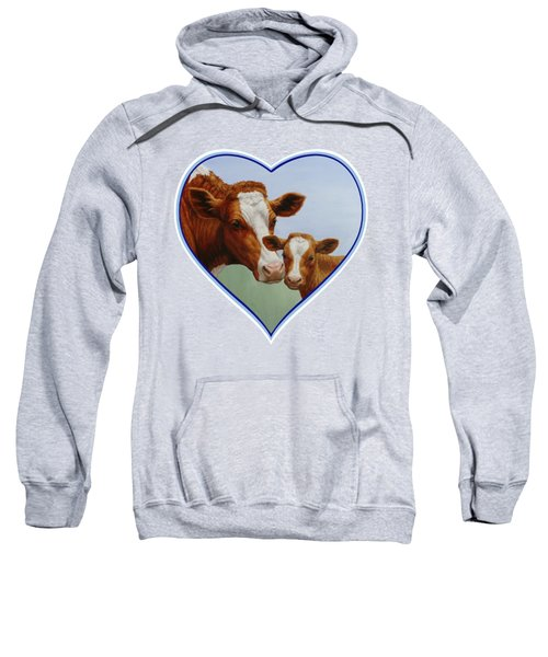 Cow And Calf Blue Heart Sweatshirt by Crista Forest