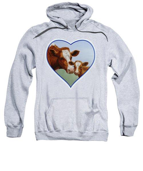 Cow And Calf Blue Heart Sweatshirt