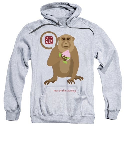 2016 Chinese Year Of The Monkey With Peach Sweatshirt by Jit Lim