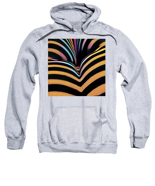 Sweatshirt featuring the digital art 2620s-ak Zebra Striped Bottom Rear Butt Cheeks Ass Backside Woman In Composition Style by Chris Maher
