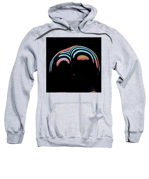 2696s-ak Zebra Striped Woman Rear View In Composition Style Sweatshirt
