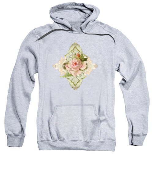 Summer At The Cottage - Vintage Style Damask Roses Sweatshirt by Audrey Jeanne Roberts