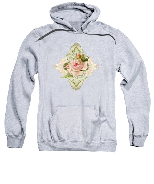 Summer At The Cottage - Vintage Style Damask Roses Sweatshirt