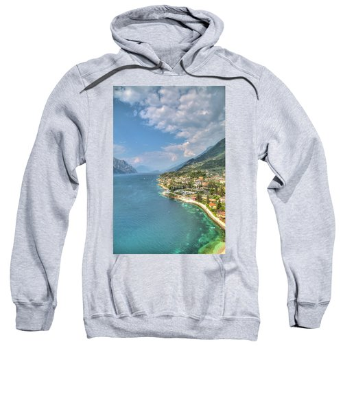 view over the Lake Garda with the charming village Malcesine Sweatshirt