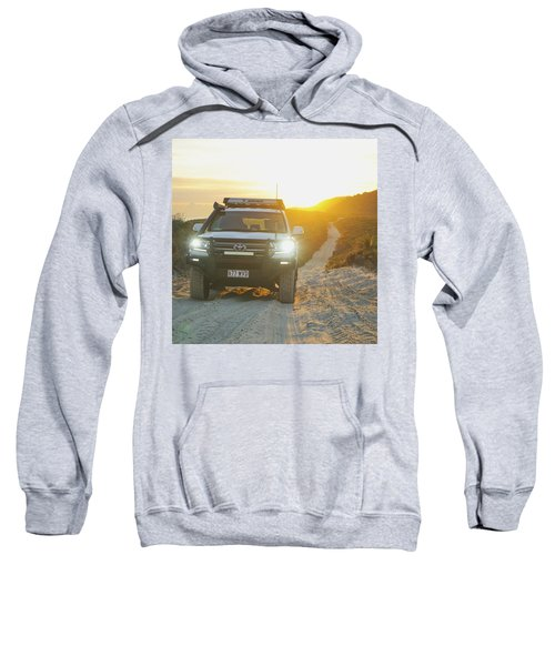 4wd Car Explores Sand Track In Early Morning Light Sweatshirt
