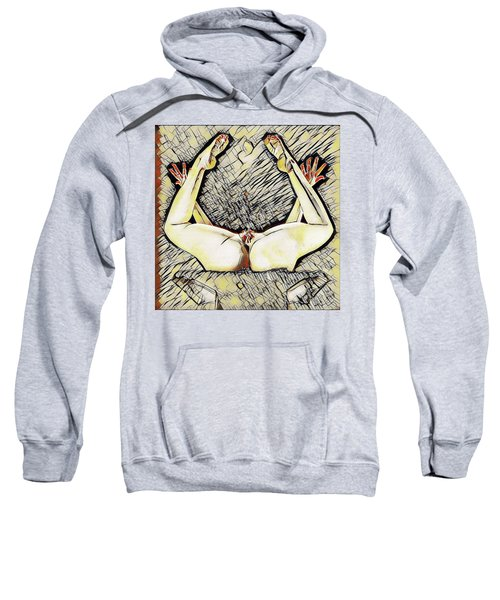 Sweatshirt featuring the digital art 5811-ams Vulval Portrait Of A Young Woman's Yoni Erotica In The Style Of Kandinsky by Chris Maher
