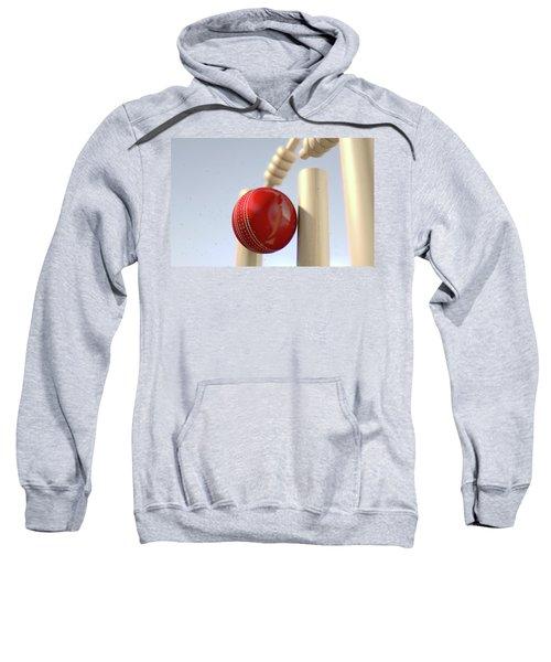Cricket Ball Hitting Wickets Sweatshirt by Allan Swart